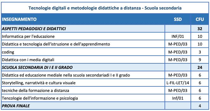 programma master didattica distanza secondaria